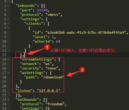 在宝塔文件修改v2ray配置文件